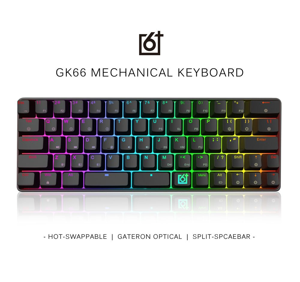 GK66 Bluetooth USB-C Dual Mode Split-Spacebar Hot-swappable Gateron Optical Switch RGB Mechanical Gaming Keyboard ducky one cherry mx red