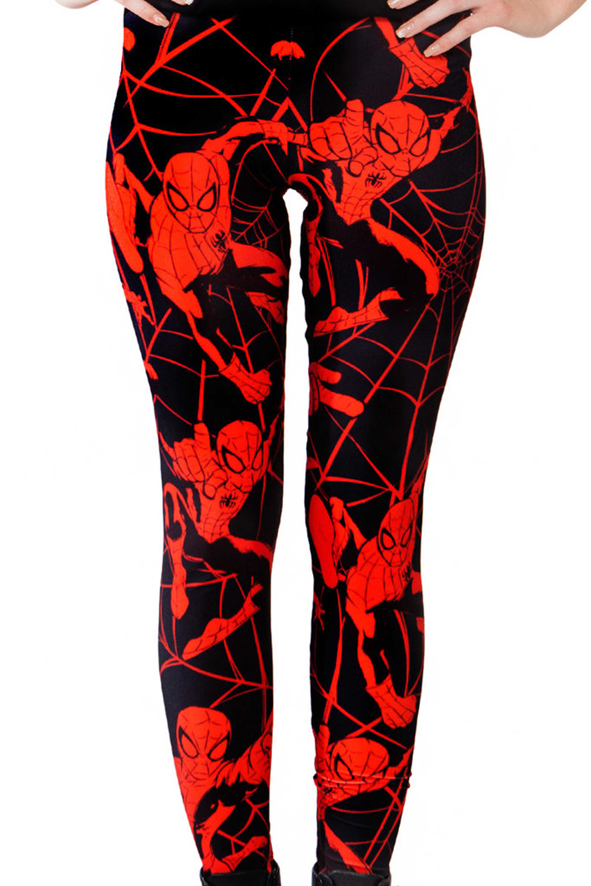 c5d793bf820e53 Dark Red Spiderman Print Leggings Women Sexy Slim Fitness Leggings High  Waist Elastic Casual Leggings Plus