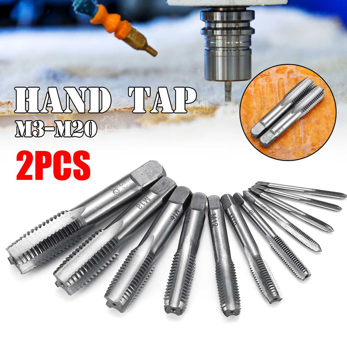 2PCS M3 M4 M5 M6 M8 M10 M12 M14 M16 M18 M20 HSS Metric Hand Tap Drill Set Plug And Bottoming Hand Straight Thread Tap Tools