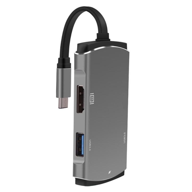 6 en 1 USB HUB type-c à 2xUSB3. 0 4 K HDMI PD type-c SD TF lecteur de carte adaptateur séparateur câble pour ordinateur portable USB HUB Adapte