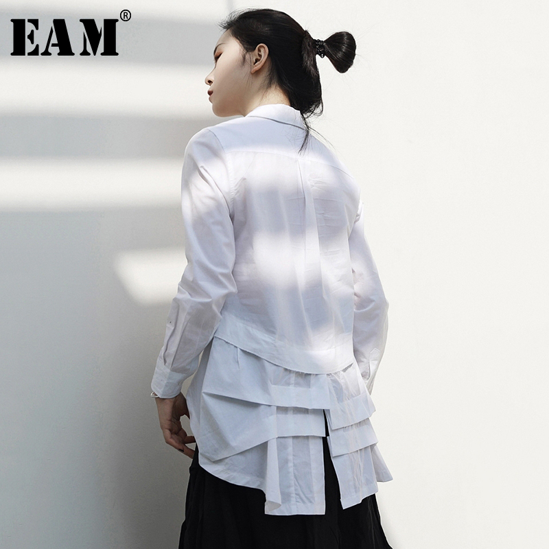 [EAM] 2019 New Autumn Winter Lapel Long Sleeve White Back Irregular Split Joint Personality Shirt Women Blouse Fashion JR390