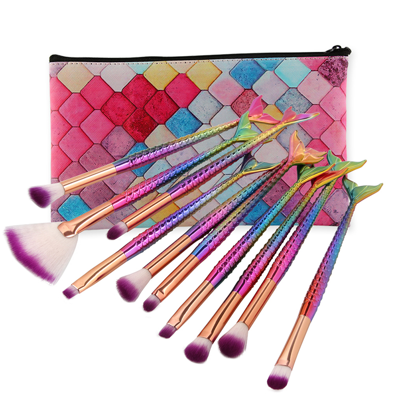 10pcs <font><b>Mermaid</b></font> <font><b>Makeup</b></font> <font><b>Brushes</b></font> Set Cosmetic Eye Shadow Lip Make Up Professional <font><b>Makeup</b></font> <font><b>Brush</b></font> Set eyeshadow <font><b>brush</b></font> <font><b>with</b></font> <font><b>bag</b></font> image