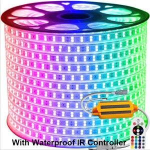 Image 5 - 13 30メートル複列のrgb ledストリップ96leds/m 5050 220vカラーチェンジライトテープIP67防水ledロープライト + ir bluetooth制御