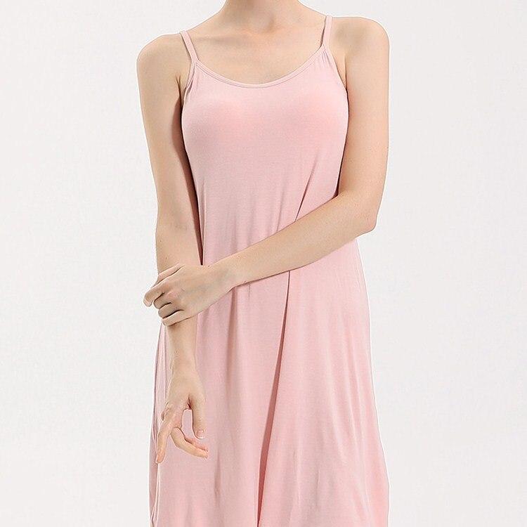 New Fashion Summer Sleeveless Mini   Nightgowns   Women Solid Spaghetti Strap Thin Slim   Sleepshirts