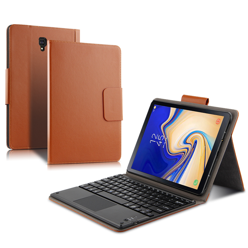 Case For Samsung Galaxy Tab S4 10.5 SM-T830 SM-T835 T835C Tablet Protective Bluetooth Keyboard Protector Cover PU Leather Case