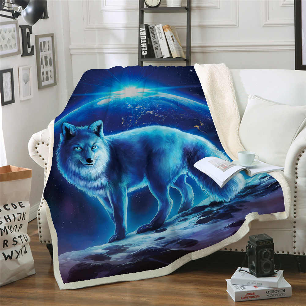 Sofa Cushion Yoga Mat Blanket Air Conditioner Is Thickened Double-layer Plush 3d Digital Printed Blanket Wolf Series