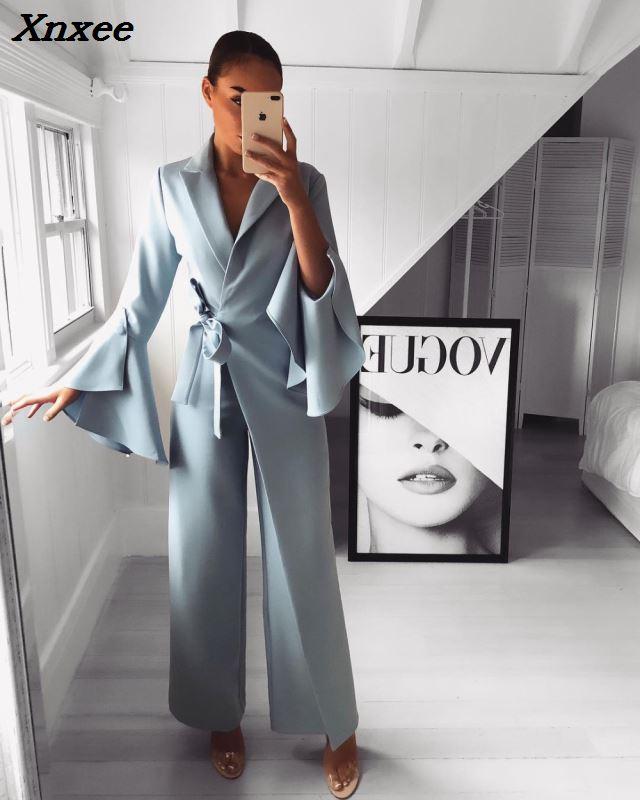 2018 Autumn Women Fashion Elegant Long Sleeve Workwear Formal Party Romper Irregular Flared Sleeve Knot Side Wide Leg Jumpsuit