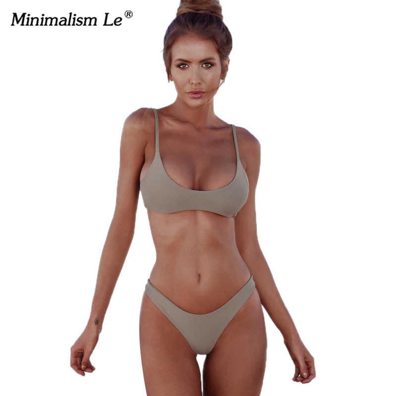 206b51d28e ... Minimalism Le Sexy 2019 Micro Bikini Set Solid Swimwear Brazilian  Bikinis Thong Beach Wear Woman Swimsuit ...