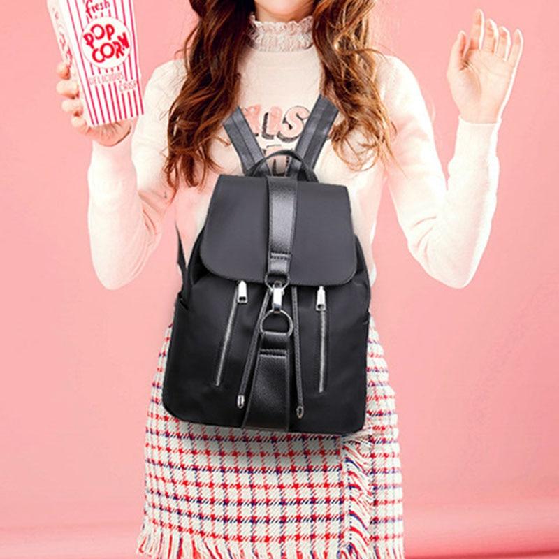 ABDB-Fashion Waterproof Oxford PU Leather Backpack Girls School Bag Shoulder Bag Women Backpacks(Black)