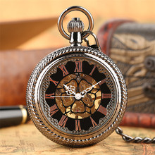 Black Transparent Hand Wind Mechanical Pocket Watch Men Women Classic Roman Numerals Pocket Retro Watch reloj de bolsillo все цены
