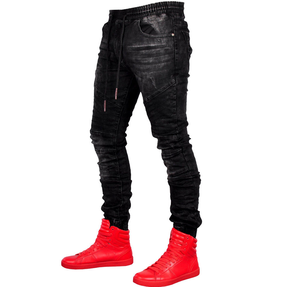 Casual Men Denim Pencil Slim Trousers Hip Hop Harem Pants Cargo Combat Slim Fit Biker Casual Mens Joggers Men's Trousers