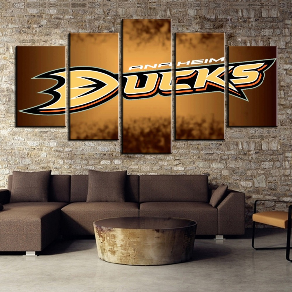 5 Piece HD Print Large Ice Hockey Sport Duck Logo Modern Decorative Paintings on Canvas Wall Art for Home Decorations Wall Decor in Painting Calligraphy from Home Garden