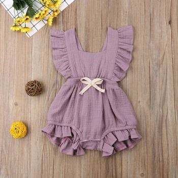 2019 6 Color Cute Baby Girl Ruffle Solid Color Romper Jumpsuit Outfits Sunsuit for Newborn Infant Children Clothes Kid Clothing 1