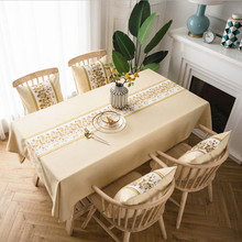 New Tablecloth Polyester Waterproof Striped Embroidery Rectangular Coffee For Table Cover Wedding Decoration Home