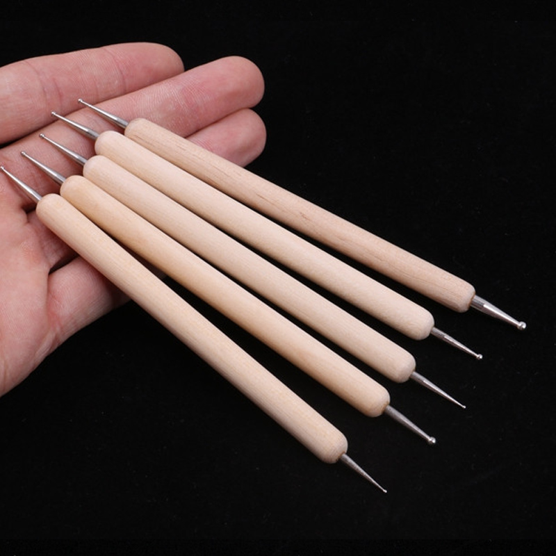 Stainless Steel Ball Double Headed Modelling Ball Tools Polymer Clay Nail Drill Pens Manicure Tool Pottery Clay Dotting Tools