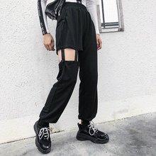 Femmes décontracté À La Mode Taille Haute Percé Pantalon Solide Couleur  Lâche pantalon cargo Femelle 9f557faf5fb