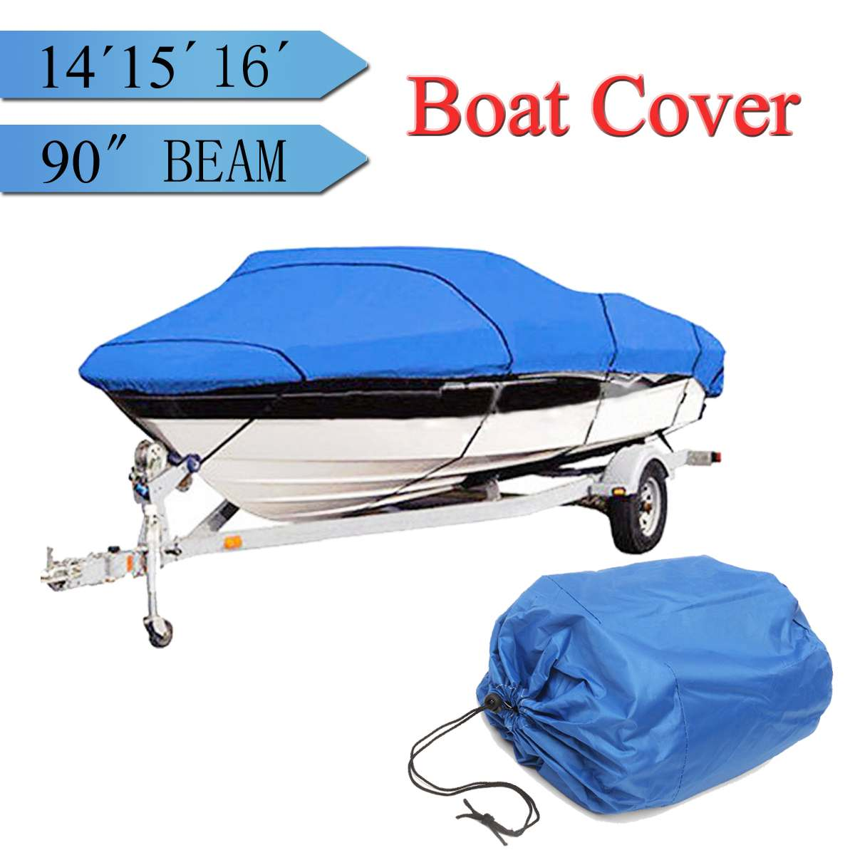 Blue Heavy   14 15 16ft Beam 90inch Trailerable 210D Marine Grade Boat Cover Waterproof UV Protected with Carrying BagBlue Heavy   14 15 16ft Beam 90inch Trailerable 210D Marine Grade Boat Cover Waterproof UV Protected with Carrying Bag