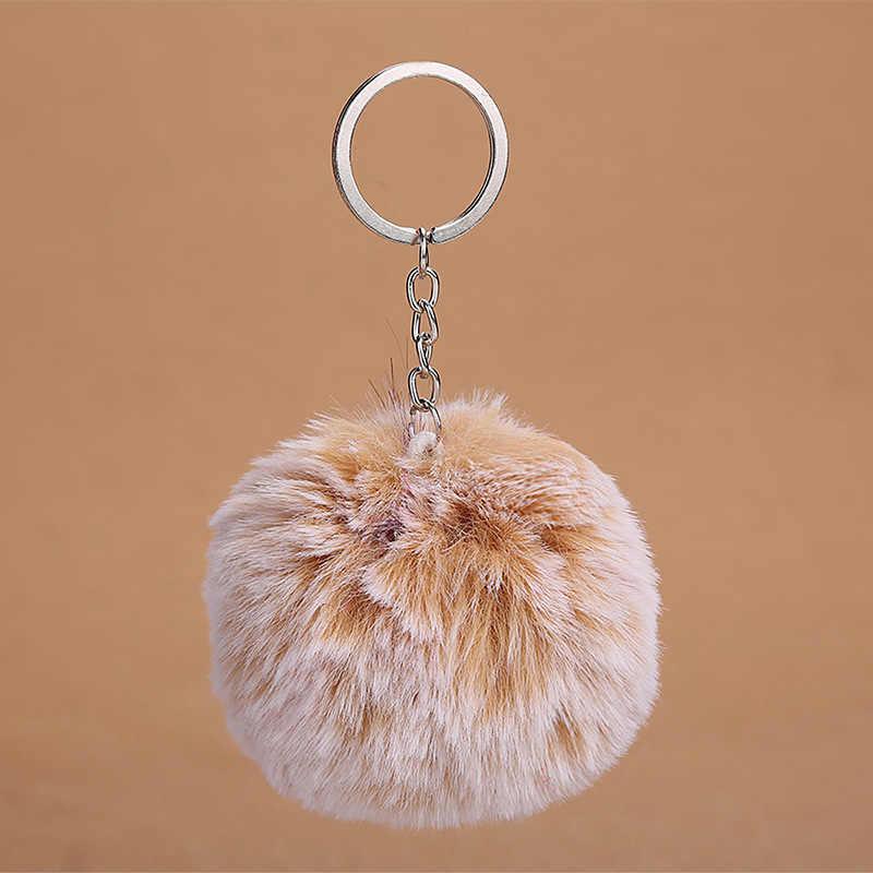 Venda de Pele de Coelho Artificial simples Bola Pompom Saco Chaveiros Chaveiro Para Carro chaveiro bola de Pêlo de Animal