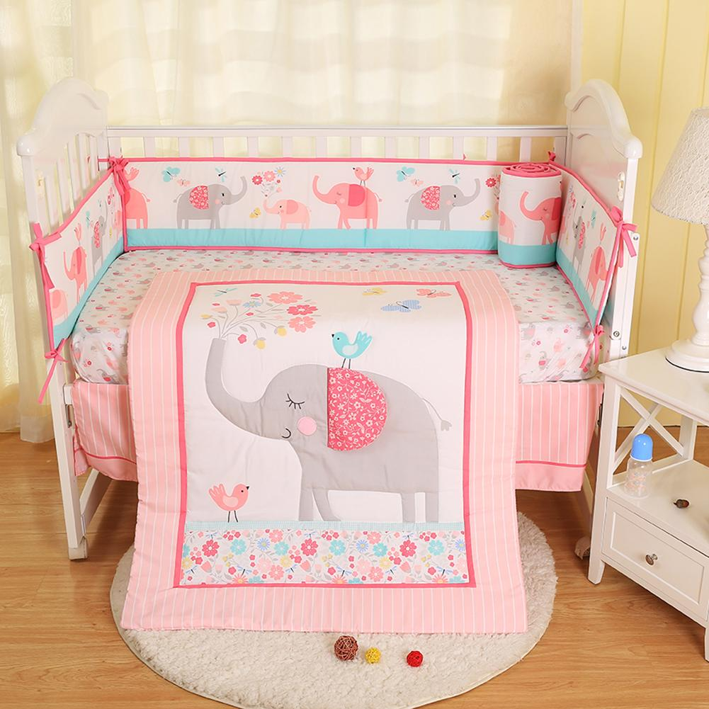 Baby Bedding Four Piece Pink Embroidered Childrens Comfortable Quilt Bumper Pad Fitted Sheet Bed Spread Bed Skirt Four SeasonsBaby Bedding Four Piece Pink Embroidered Childrens Comfortable Quilt Bumper Pad Fitted Sheet Bed Spread Bed Skirt Four Seasons