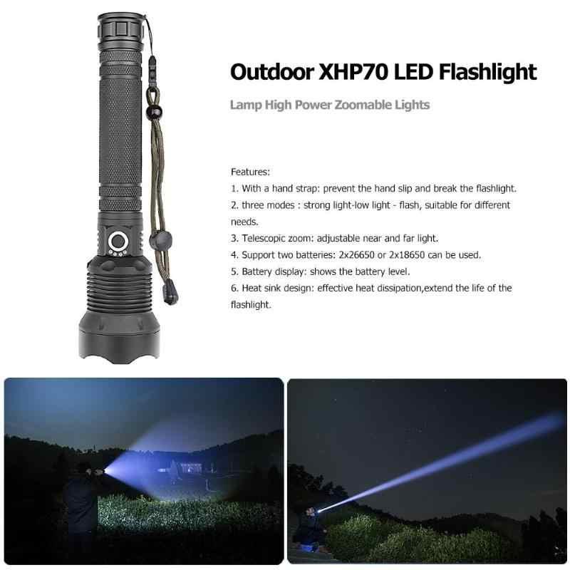 50000 لومينز مصباح xhp70 أقوى مصباح يدوي USB مصابيح ليد المكبرة الشعلة xhp70 xhp50 18650 أو 26650 بطارية أفضل التخييم ، في الهواء الطلق