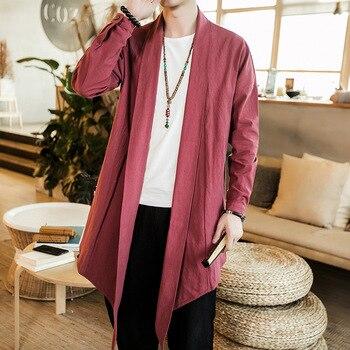 a8141290cad  4350 длинное кимоно куртка Для мужчин Винтаж Асимметричный Открыть стежка  Винтаж китайский стильная ветровка плюс