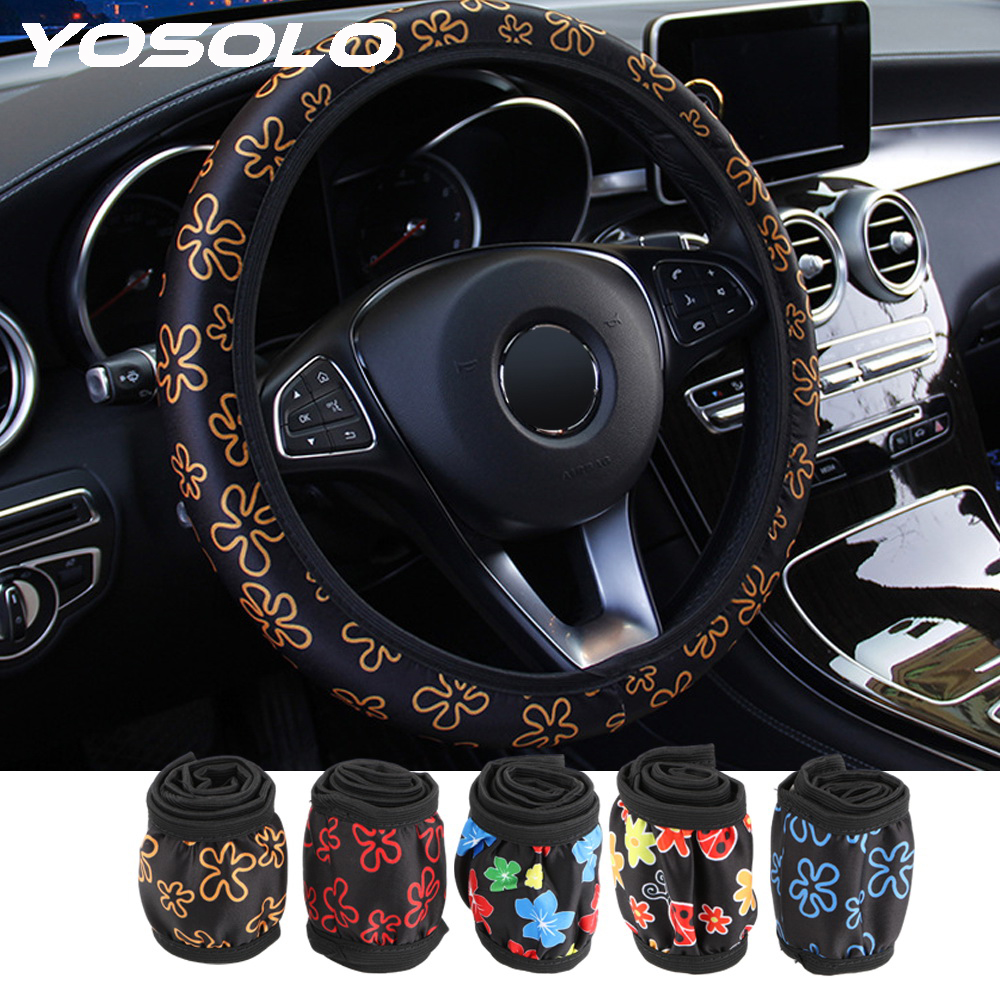 YOSOLO Universal Car Styling Flowers Print Interior Accessories Auto Decoration Steering Covers Elastic