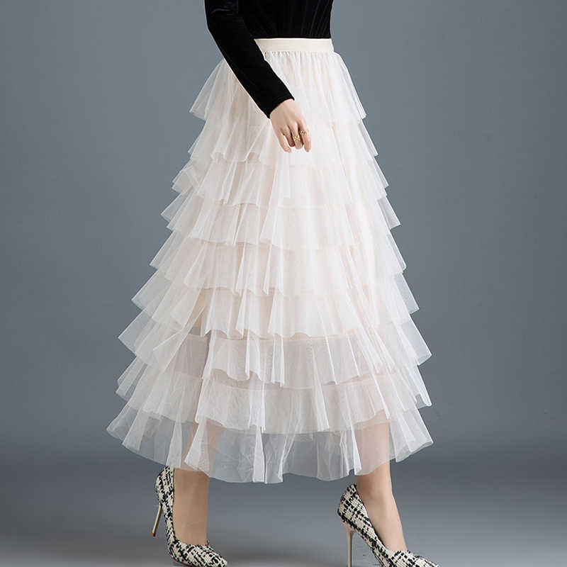4d6c730d5986a Womens Cakee Layered Maxi Long Tulle Skirts Streetwear Tiered Mesh Ruffled  Tutu Ankle Long Skirts Pink Gray Ivory