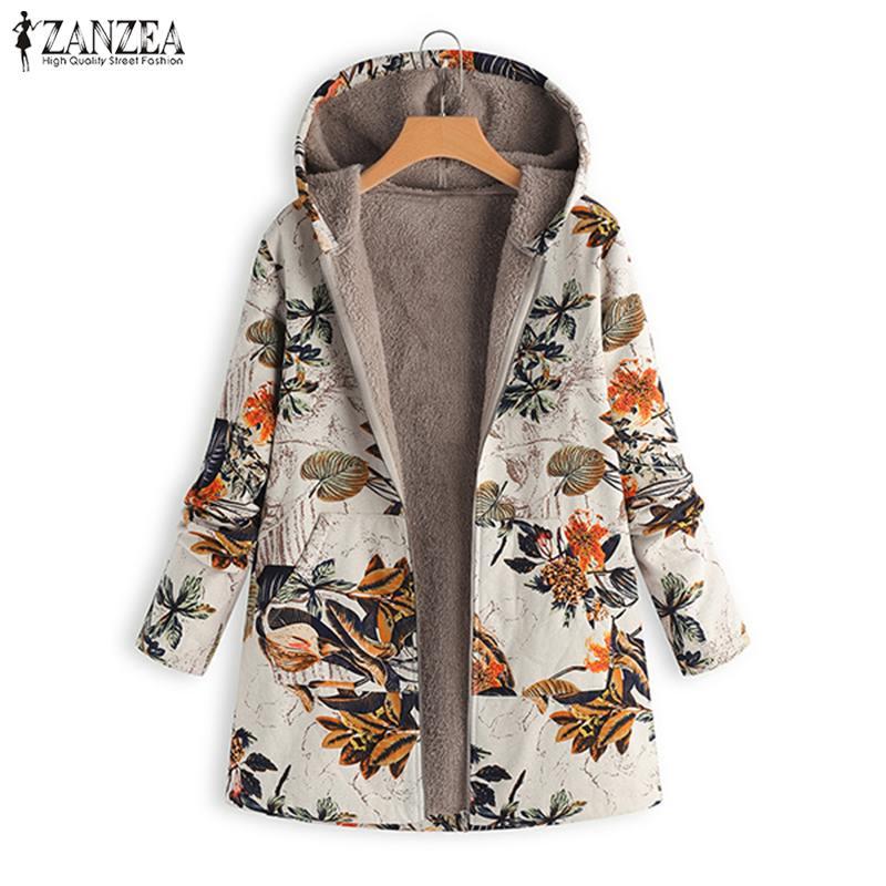 2019 Plus Size ZANZEA Winter Women Hooded Long Sleeve Vintage Floral Printed Plush Fluffy Faux Fur Warm Coat Jackets Overcoat Велюр