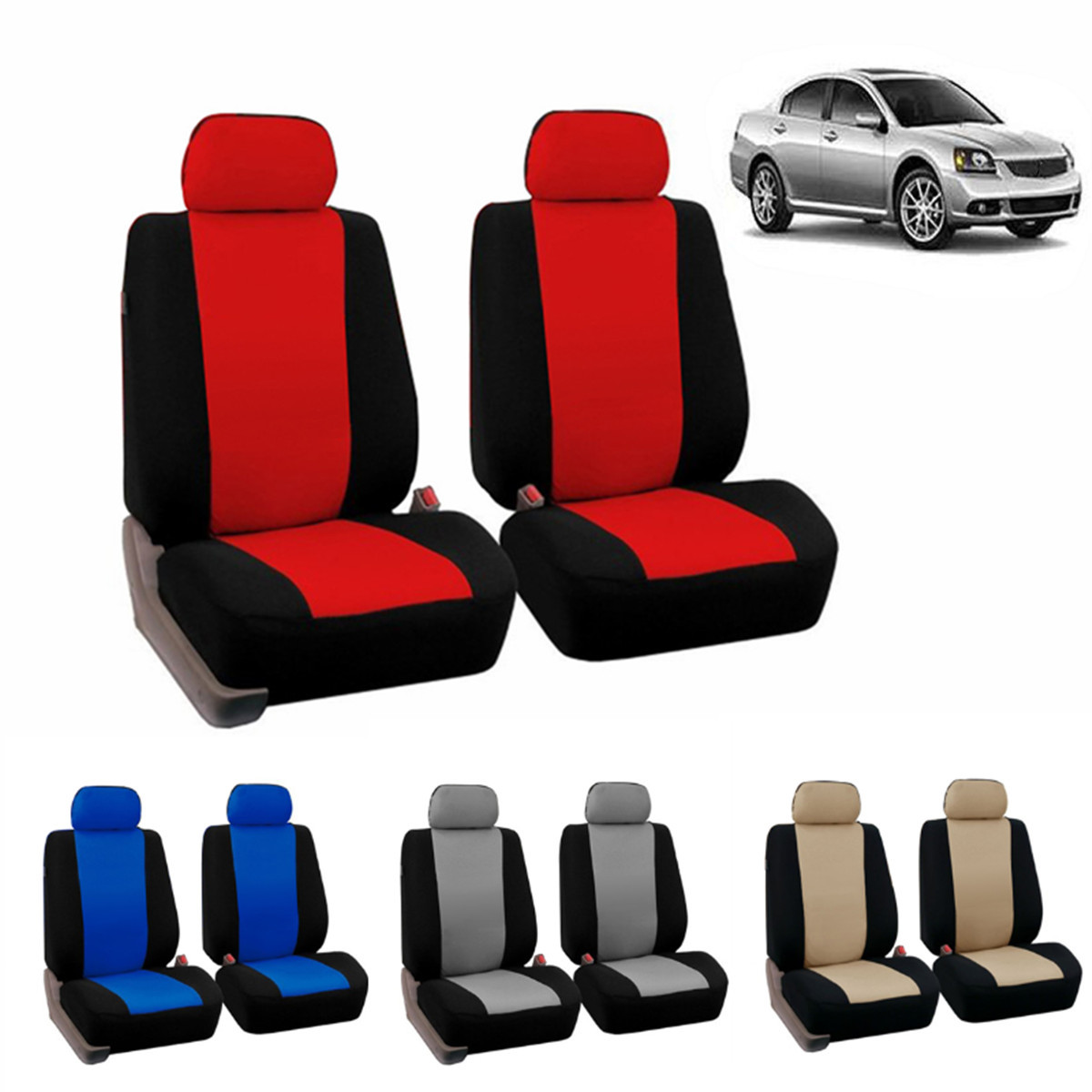 2xUniversal Car Auto Seat Cover Covers Polyester For Cars For Trucks For Vans For SUV Beige/Blue/Red/Gray Automobiles Seat Cover