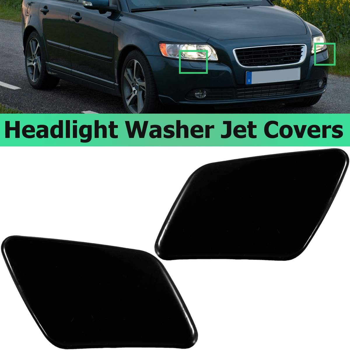 Front Left Right Head Light Washer Spray Nozzle Cover fits Volvo S40 V50 04-07