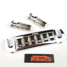 лучшая цена Wilkinson Adjustable Wraparound Tailpiece Bridge For LP Electric Guitar Chrome Silver WOGT3