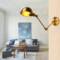 New Lamp Cover E27 Vintage Antique Style Industrial Adjustable Pole Swing Arm Light Sconce Wall Lamp Light Fixture AC110 240V