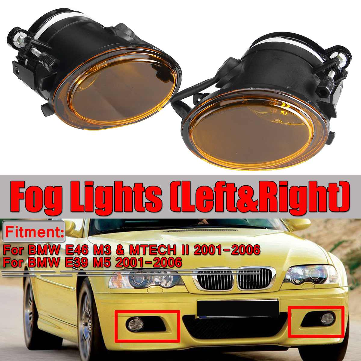 Une paire ambre E46 E39 ensemble d'antibrouillard avant de voiture pour BMW E46 M3 & MTECH II & E39 M5 2001-2006 pas d'ampoules boîtier de phare antibrouillard