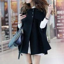 30ad63f59 New Fashion Autumn Winter Women Coat Jacket Batwing Female Poncho Woolen  Thick and Warm Cape Overcoat