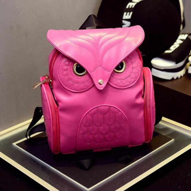 Nuevo bolso de moda para mujer, mochila escolar de cuero con búho para viaje, mochila bonita para chicas