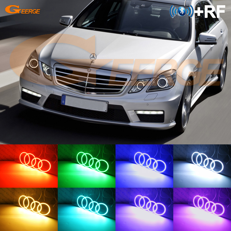 For Mercedes-Benz E-Class <font><b>W212</b></font> E350 E550 E63 AMG 2010-2013 Xenon <font><b>headlight</b></font> RF Bluetooth Controller Multi-Color RGB led angel eye image