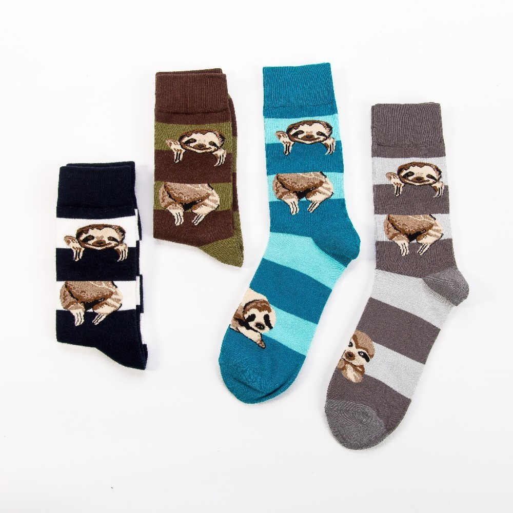 Fashion Original Men's Socks Cotton Colorful Dress Happy Socks Novelty Animal Sloth Patterned Harajuku Men Sock Gift Hip Hop