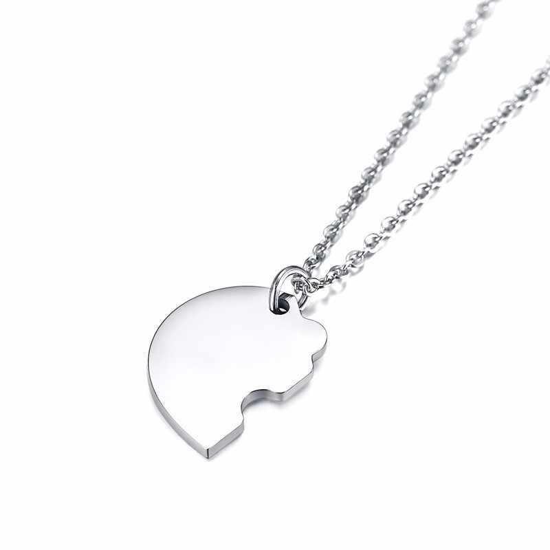 Spersonalizowane BFF naszyjnik srebrny ze stali nierdzewnej ze stali nierdzewnej Puzzle wisiorek 3 w 1 zestaw niestandardowe przyjaźń biżuteria z pierwszą literą imienia