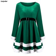 Women Warm Winter Autumn Dress Long Sleeve Furry Velvet Swing Flare Midi Party Slim High Waist Femme Vestidos XXL