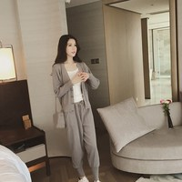 Women Autumn Thin Slim Two Piece Sets Female Cardigan Jacket Beam Pants Sweater Sets Casual Solid Knitting Suits