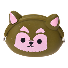 Women Girls Wallet Kawaii Cute Cartoon Animal Silicone Jelly Coin Bag Purse Kids Gift Green dogs