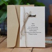 50 шт./лот свадебные пригласительные коробки приглашения на свадьбу любовь поздравительная открытка высокое качество риса Kraft конопли карты...