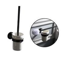 European style Brass Toilet Brush Holder With Ceramic Cup Black Toilet Brush Bathroom Products Bathroom Accessories