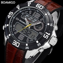BOAMIGO Dual Display Analog Watch Men Sport Wrist Watch Digital Waterproof Rubber Band Electronic Men's Watch 2018 Luxury Brand