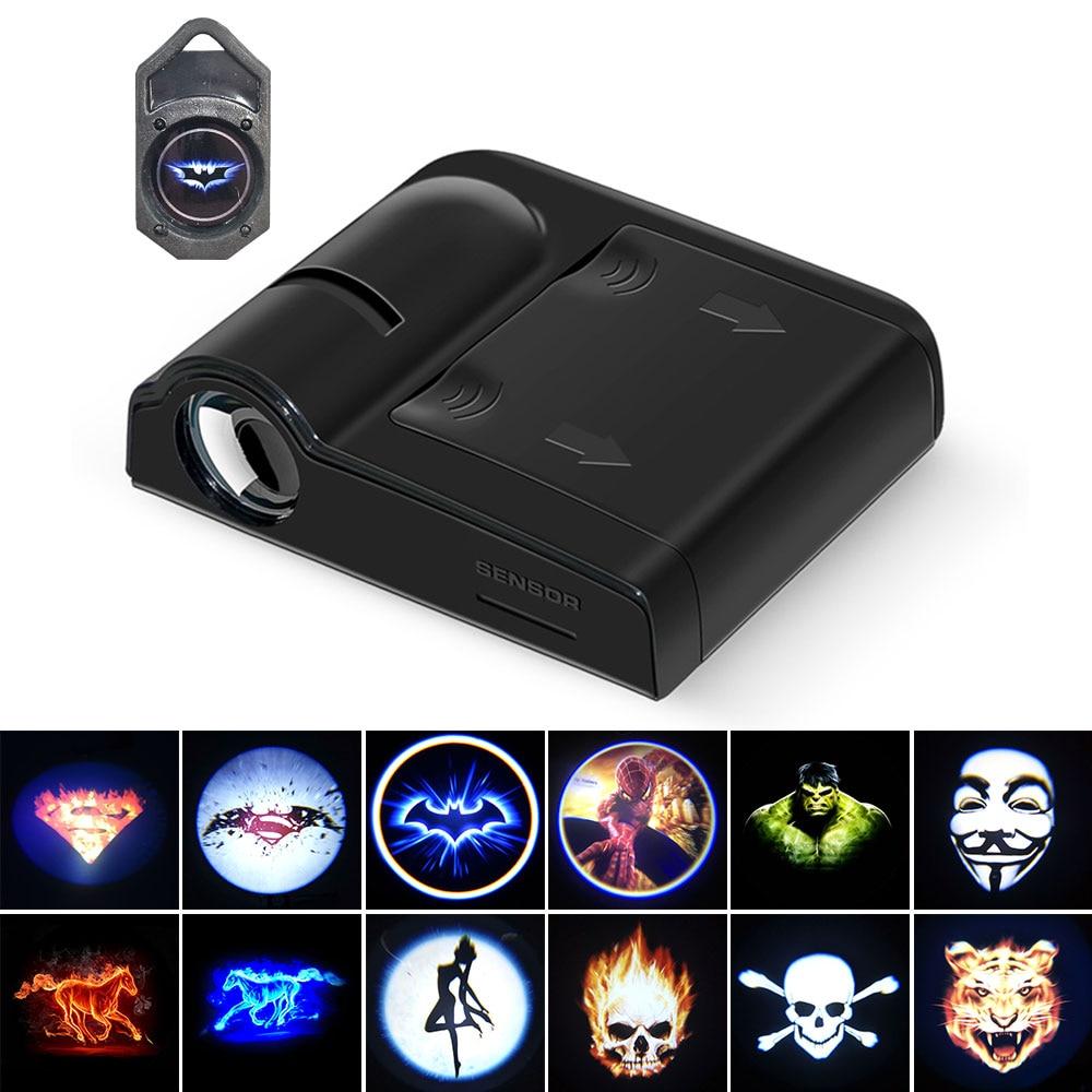 1 Pair Car Door Projection Light LED Welcome Lamp Mini 3D Cartoon Logo Projector Bulb For Car Decoration Signal Warning Lights