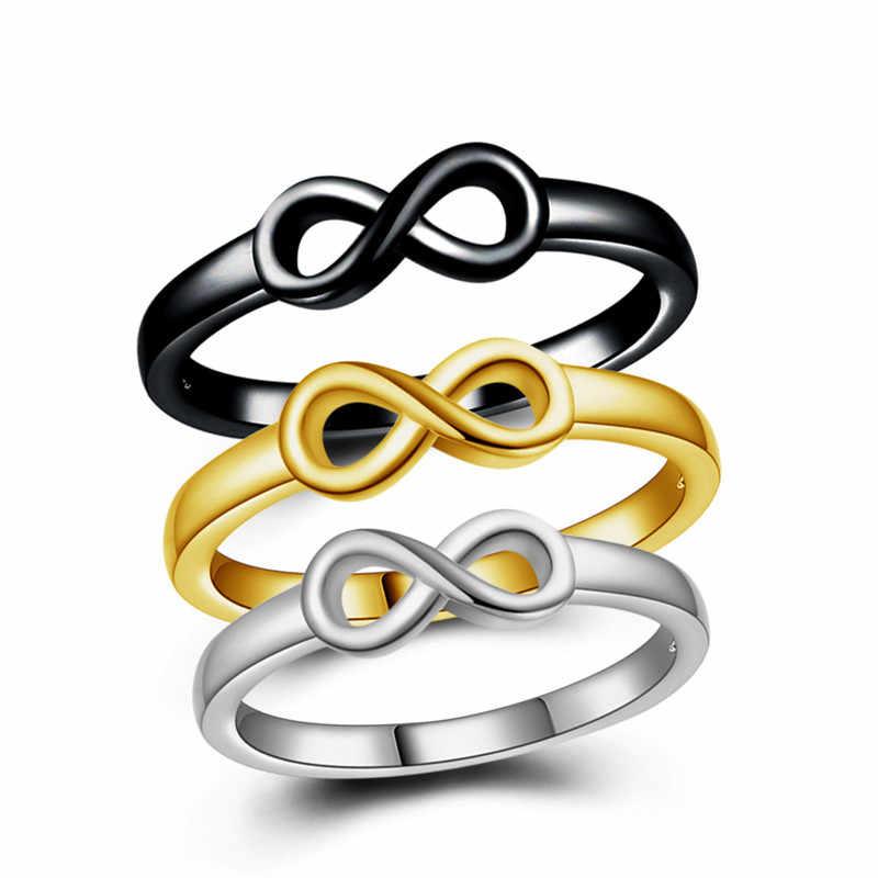 جديد الفضة محظوظ عدد 8 خواتم للنساء مجوهرات خاتم الخطوبة للرجال زوجين خواتم الزفاف فاسق النساء الأسود خاتم الذهب السيدات