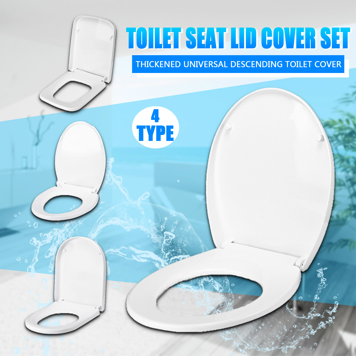 Xueqin PP Universal Slow-Close Toilet Seat Lid Cover Set Thicken Replacement Antibacterial Square Round O/V Type Toilet SeatsXueqin PP Universal Slow-Close Toilet Seat Lid Cover Set Thicken Replacement Antibacterial Square Round O/V Type Toilet Seats