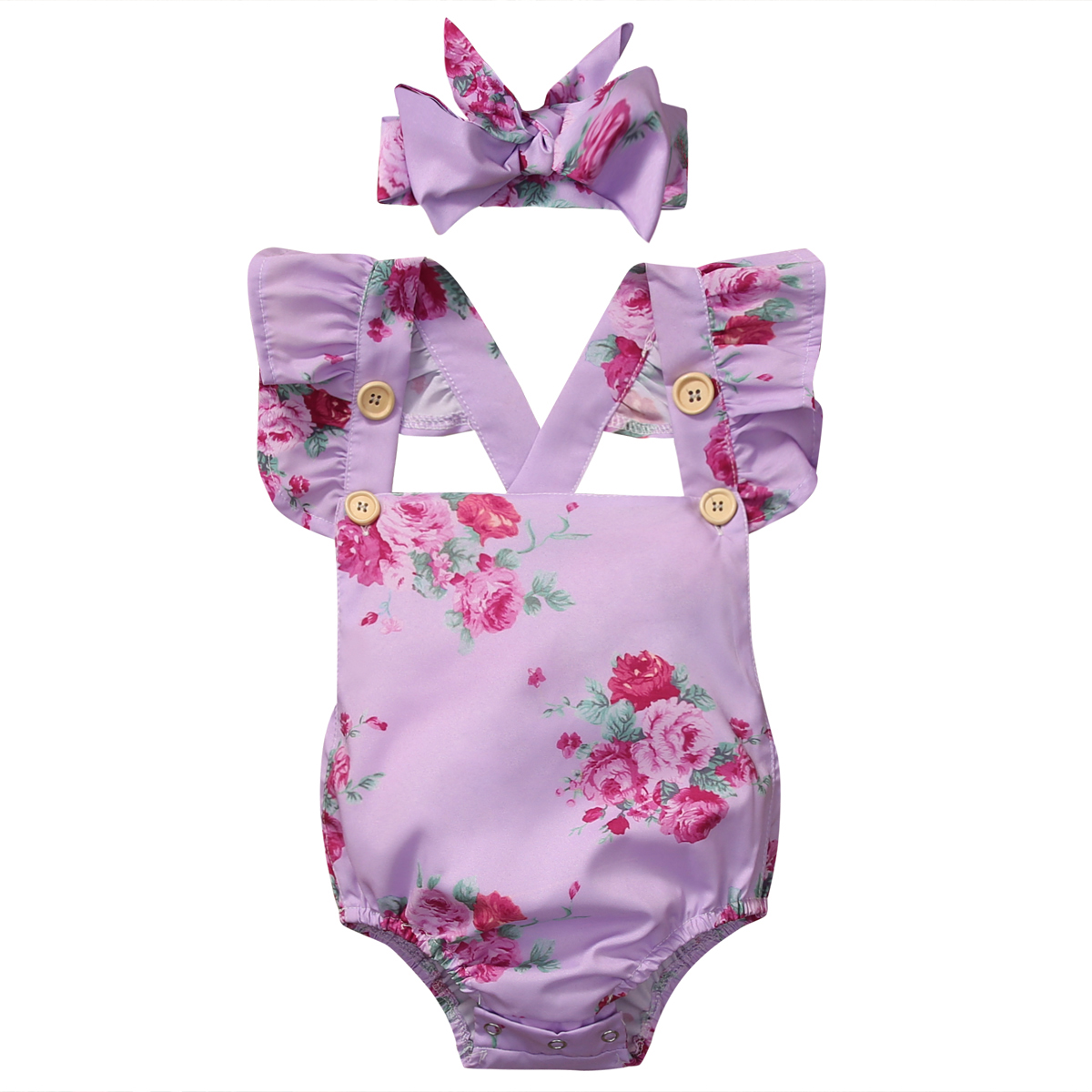 0-24 M Pasgeboren Baby Baby Meisje Paars Bloemen Backless Romper Vlinder Mouwen Jumpsuit Outfits Sunsuit Kleding