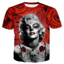 Jumeast 2019 Fashion Men/Women 3D T-shirts Print Sexy Goddess Marilyn Monroe Summer Tees Tops O-neck Short Sleeve Romantic Roses