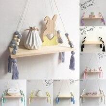 Estilo nórdico cuentas coloridas borla de madera pared estante de pared tablilla decoración niños habitación niños tienda de ropa stand de exhibición